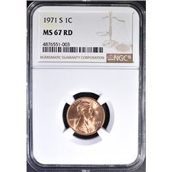 1971-S LINCOLN CENT, NGC MS-67 RED RARE!!