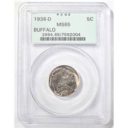 1938-D BUFFALO NICKEL, PCGS MS-65 OLD GREEN HOLDER