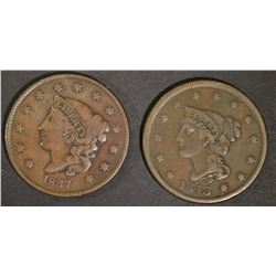 1837 VF & 1843 VF/XF LARGE CENTS