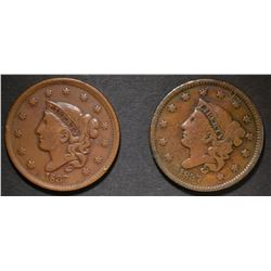2-1837 LARGE CENTS, 1-F & 1-VF