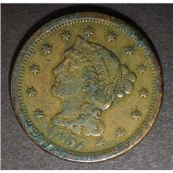 1857 LARGE CENT, XF KEY DATE
