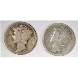 1921-P&D MERCURY DIMES BOTH VG
