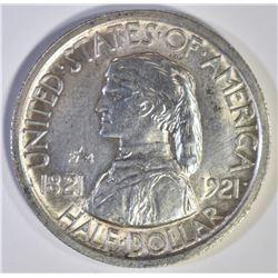 1921 MISSOURI 2x2 COMMEM HALF DOLLAR, CH BU
