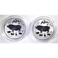 2-AUSTRALIAN 1oz SILVER YEAR OF THE PIG COINS