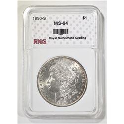 1890-S MORGAN DOLLAR RNG CH/GEM BU