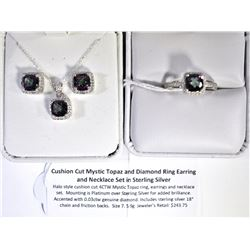 STERLING SILVER RING, EARRING, AND NECKLACE SET