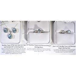 STERLING SILVER RINGS, EARRING, AND NECKLACE SET