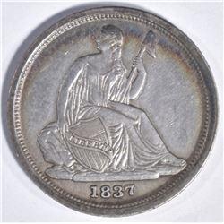 1837 SEATED DIME  FIRST YEAR  AU/BU