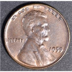 1955 DOUBLE DIE OBVERSE LINCOLN CENT CH BU