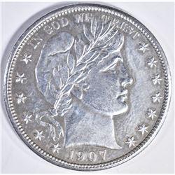 1907 D BARBER HALF DOLLAR CH BU