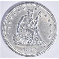 1873 SEATED QUARTER NO ARROWS, GEM BU