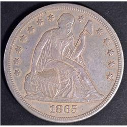 1865 SEATED DOLLAR, AU STRONG STRIKE