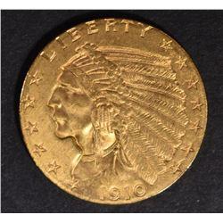 1910 $2.5 GOLD INDIAN CH/GEM BU