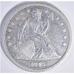 1845 SEATED DOLLAR, AU+