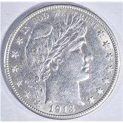 1913-D BARBER HALF DOLLAR, CH BU