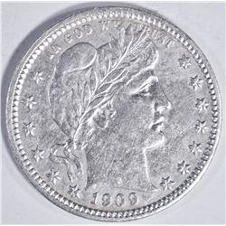 1909 D BARBER QUARTER AU