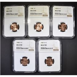 5-NGC GRADED MS-67 RED LINCOLN CENTS:
