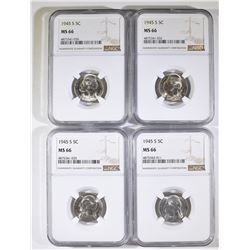 (4) 1945 S JEFFERSON NICKELS NGC MS-66