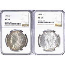 1898 NGC MS-61 & 1900 NGC AU.58 MORGAN DOLLARS
