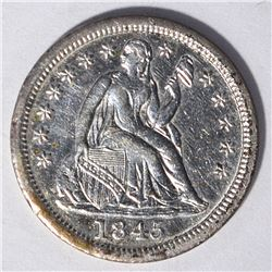1845 SEATED DIME, AU