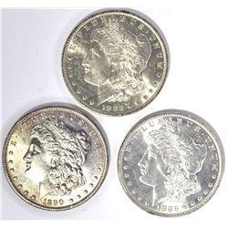 1883-O, 1886 & 1890 CH BU MORGAN DOLLARS