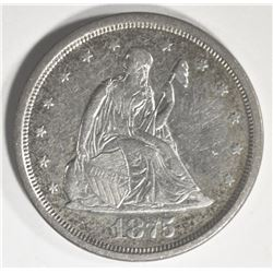1875-S TWENTY CENT PIECE, XF/AU