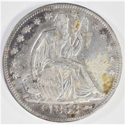 1853 -O ARROWS & RAYS SEATED HALF DOLLAR, XF/AU