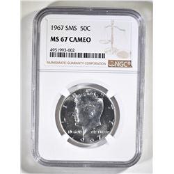 1967 SMS KENNEDY HALF DOLLAR, NGC MS-67 CAMEO