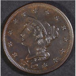 1842 LARGE CENT, CH BU+