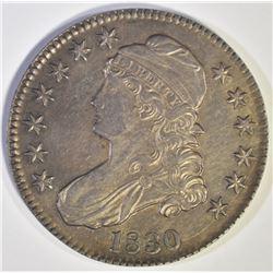 1830 BUST HALF DOLLAR, CH BU