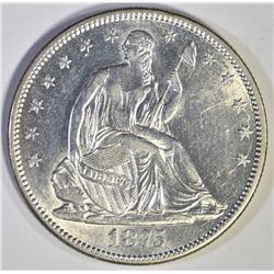 1875-S SEATED HALF DOLLAR, CH BU/GEM BU