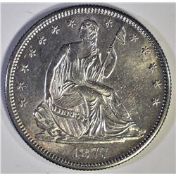 1877-S SEATED HALF DOLLAR, CH BU/GEM BU