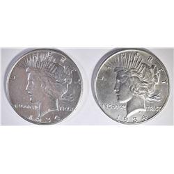 1934-P,D PEACE DOLLARS CH AU