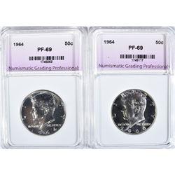 2 - 1964 KENNEDY HALF DOLLARS