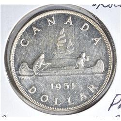 1951 CANADA SILVER $1 DOLLAR  CH.BU PL