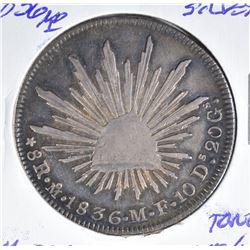 1836MO SILVER 8 REALES MEXICO CH.AU/BU