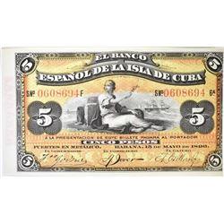 1896 5 SILVER EL BANCO ESPANOL DE CUBA