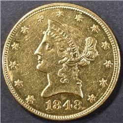 1848 GOLD $10 DOLLAR LIBERTY HEAD CH BU