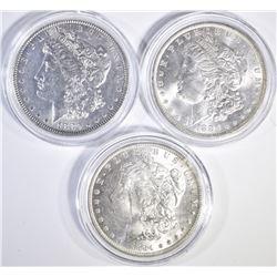 3 BU MORGAN DOLLARS 1880, 84-O, 85-O