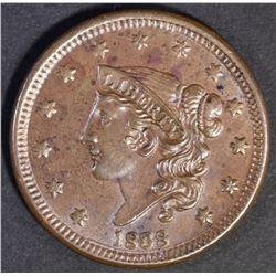 1838 LARGE CENT CH BU++