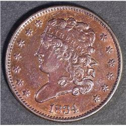 1834 HALF CENT CH BU+