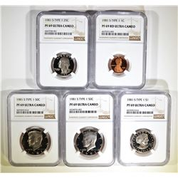5 1981-S TYPE 1 PROOF COINS NGC PF-69 ULTRA CAMEO