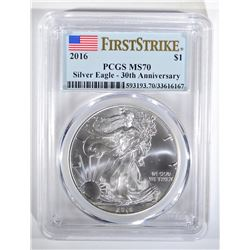 2016 SILVER EAGLE PCGS MS-70 FIRST STRIKE