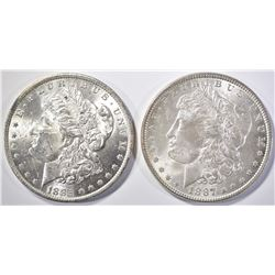 1885-O & 87 MORGAN DOLLARS CH BU