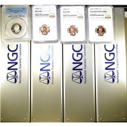 4 MODERN COINS WITH 4 NGC COIN BOXES