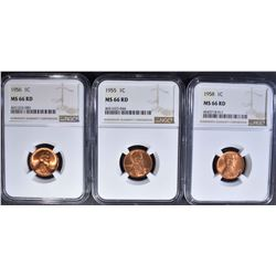 1955, 56, 58 LINCOLN CENTS NGC MS-66 RD