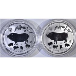 2-2019 AUSTRALIAN YEAR OF THE PIG 1oz SILVER COINS