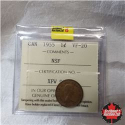 Canada One Cent: 1955 NSF (ICCS Cert. VF-20)
