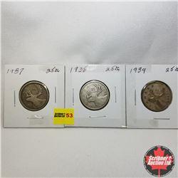 Canada Twenty Five Cent - Strip of 3: 1937; 1938; 1939