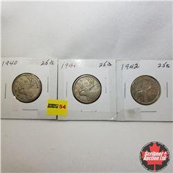 Canada Twenty Five Cent - Strip of 3: 1940; 1941; 1942